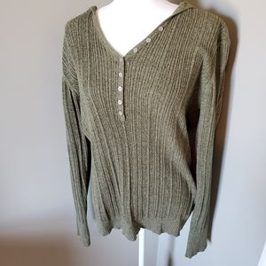 Natural Reflections Hooded Sweater Green NWOT